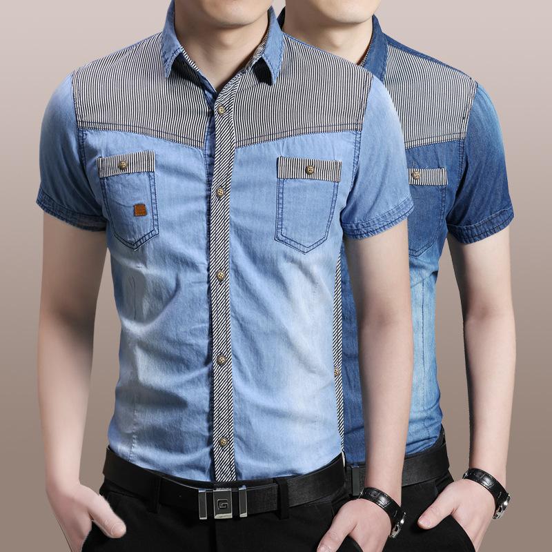 New summer men 39 s short sleeved denim shirt all match slim for Matching denim shirt and jeans