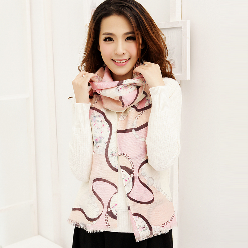 Autumn and winter sweet gentlewomen fashion women's pure wool print scarf chain