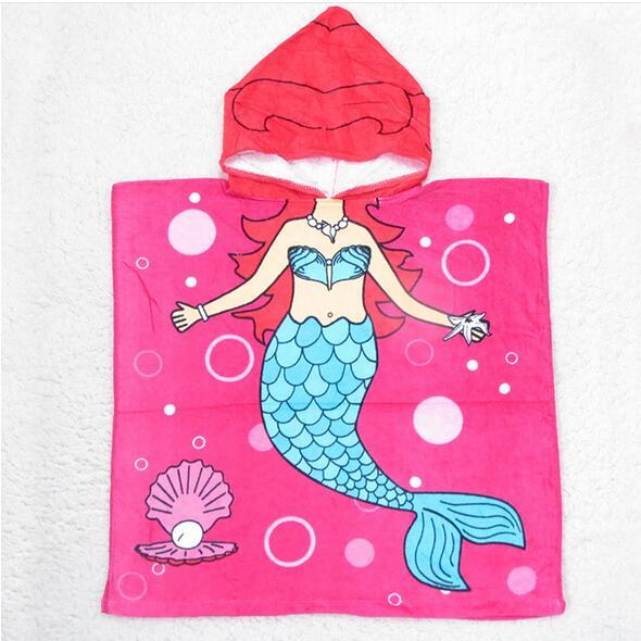 Children's Hooded Towel 100% Cotton 60x120cm Cute Mermaid Pattern Sea Maid Printed Cloak Hoodie Towels Kids Mantle - Happy boutique store