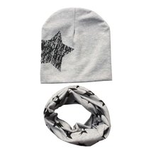 Buy Kids Hat Scarf + Hats Set Autumn Winter Cotton Scarf-collar Warm Beanies Star Print Infant Hats Scarf Sets Accessories for $2.16 in AliExpress store