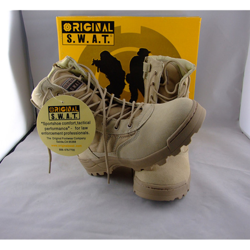 Mens Tactical Military Boots with Zipper Desert Tan 2015 new SWAT army pants(China (Mainland))