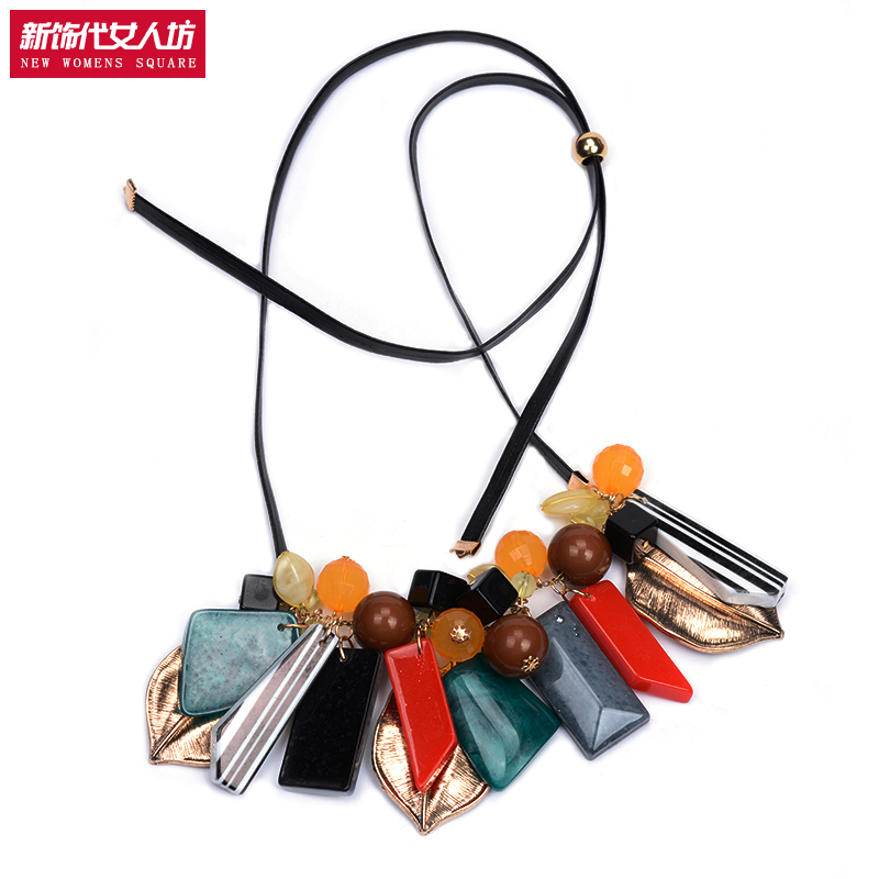 free shipping 2016 new geometry irregular type exaggerated necklace personalized leather chain long design accessories chain(China (Mainland))