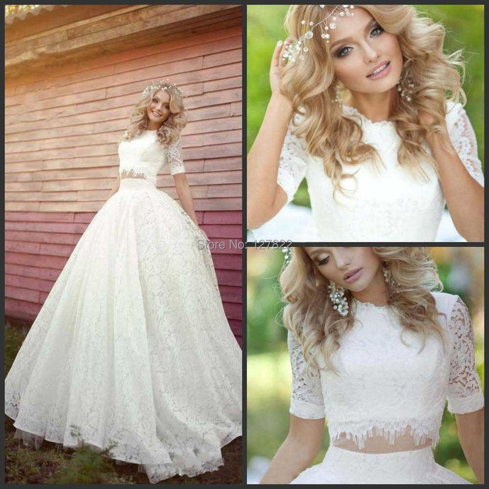 Elegant 2 Piece Wedding Dresses : Vestido de noiva estilo princesa renda two piece wedding
