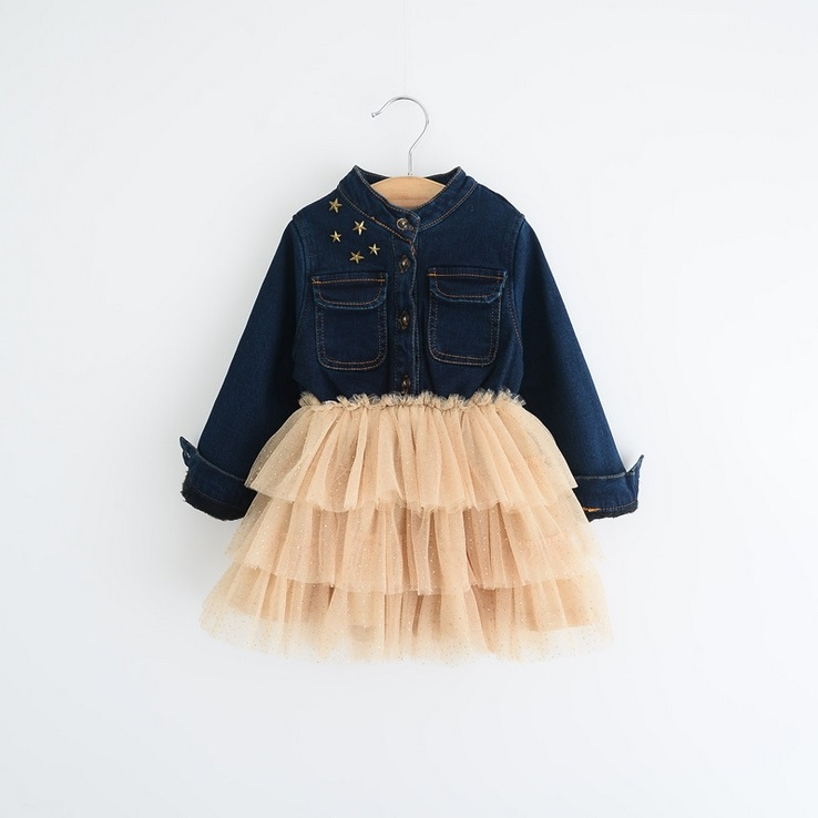 Hug Me Baby Girls Clothes Lace Tutu Winter Dresses Long Sleeve for Kids Clothing 2016 New Party Flower Floral Denim Dress BB-127<br><br>Aliexpress