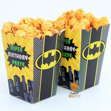 12pcs/lot Batman Kids Party Supplies Popcorn Box case Gift Box Favor Accessory Birthday Party Supplies AW-0556(China (Mainland))