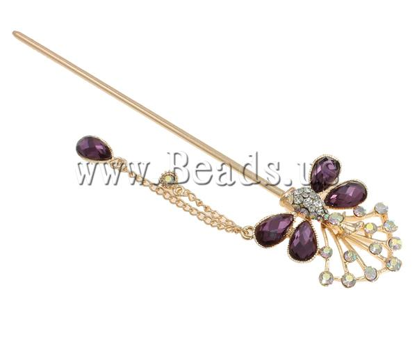 Free shipping!!!Zinc Alloy Hair Stick,Cheap Jewelry, with Glass, Butterfly, gold color plated, with rhinestone, mixed colors(China (Mainland))