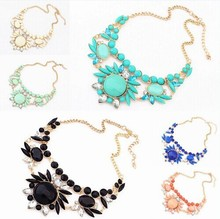 YANA Jewelry 2015 New Hot high quality jewelry Colorful Gem Necklace Woman Pop Christmas Gift Necklaces & Pendants