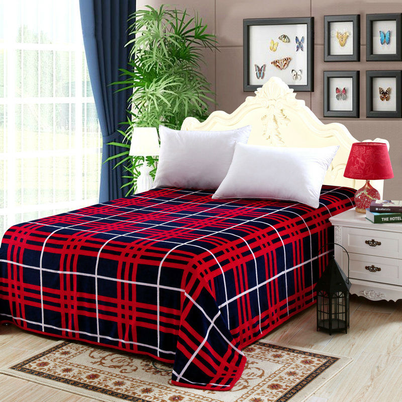 simple red white lines deep blue plaids flannel coverlid summer blankets twin/single/queen/full/double/king throw blankets(China (Mainland))