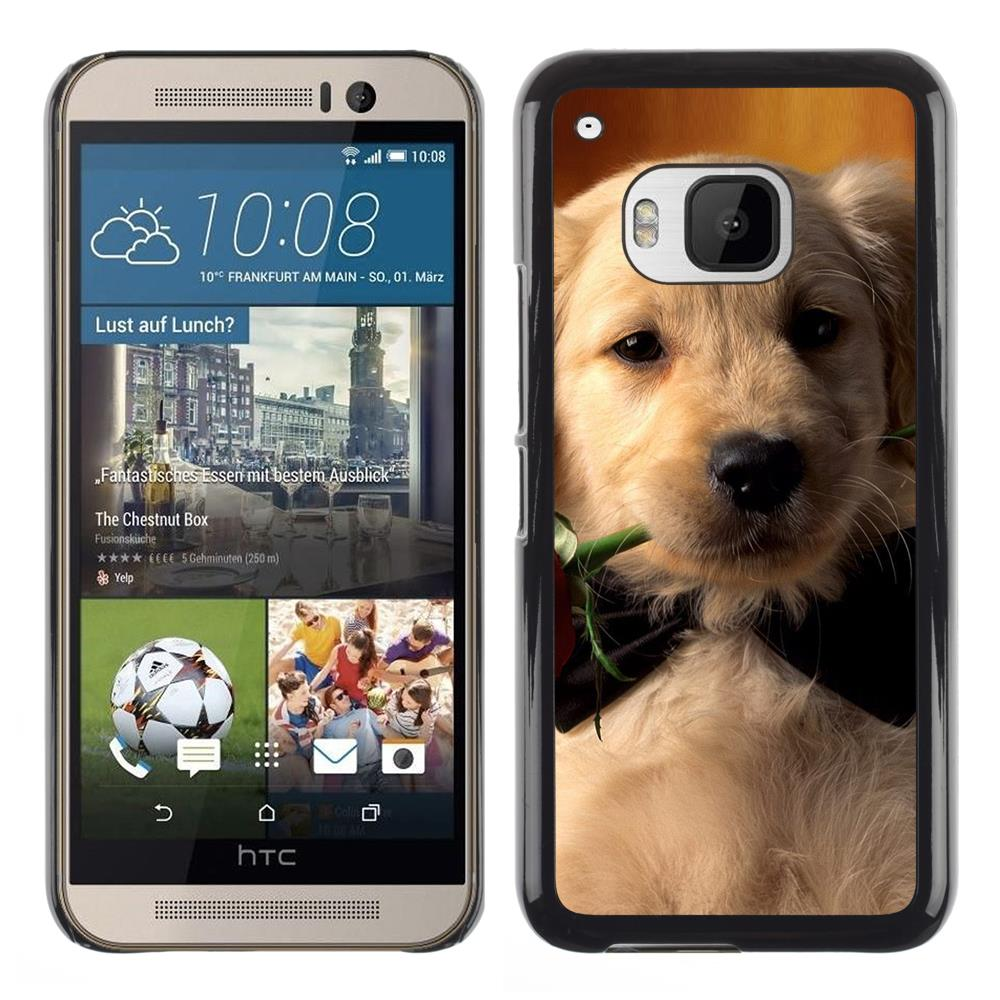 Snap On Hard PC Back Shell Case For HTC One M9-Labrador Retriever Rose Bowtie Puppy Dog(M9-3005675)(China (Mainland))