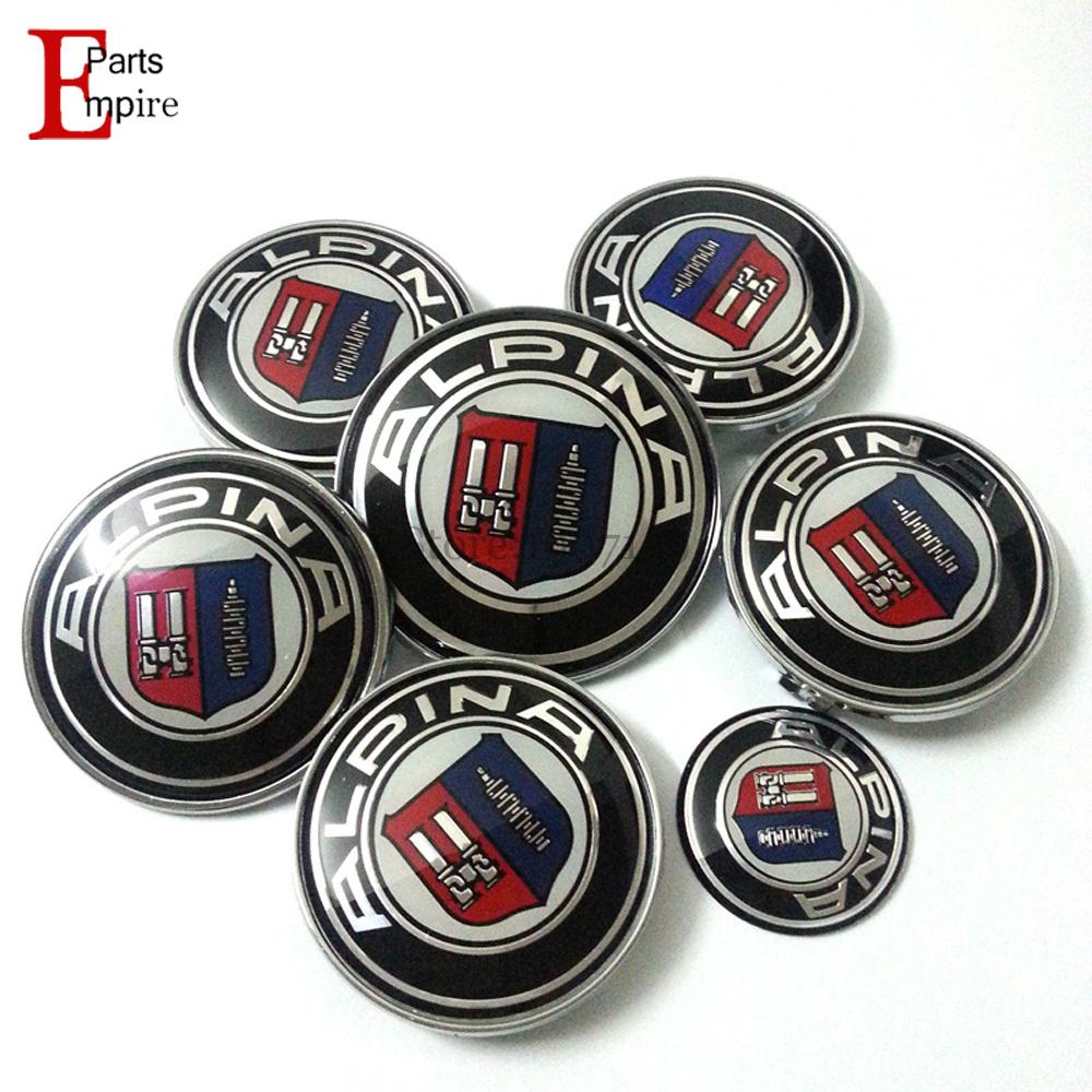 7pcs/set Emblems ALPINA Logo Badge Hood Front Rear Trunk Logo Steering Wheel Center Cap For Car Emblem 82mm 74mm 68mm 45mm(China (Mainland))