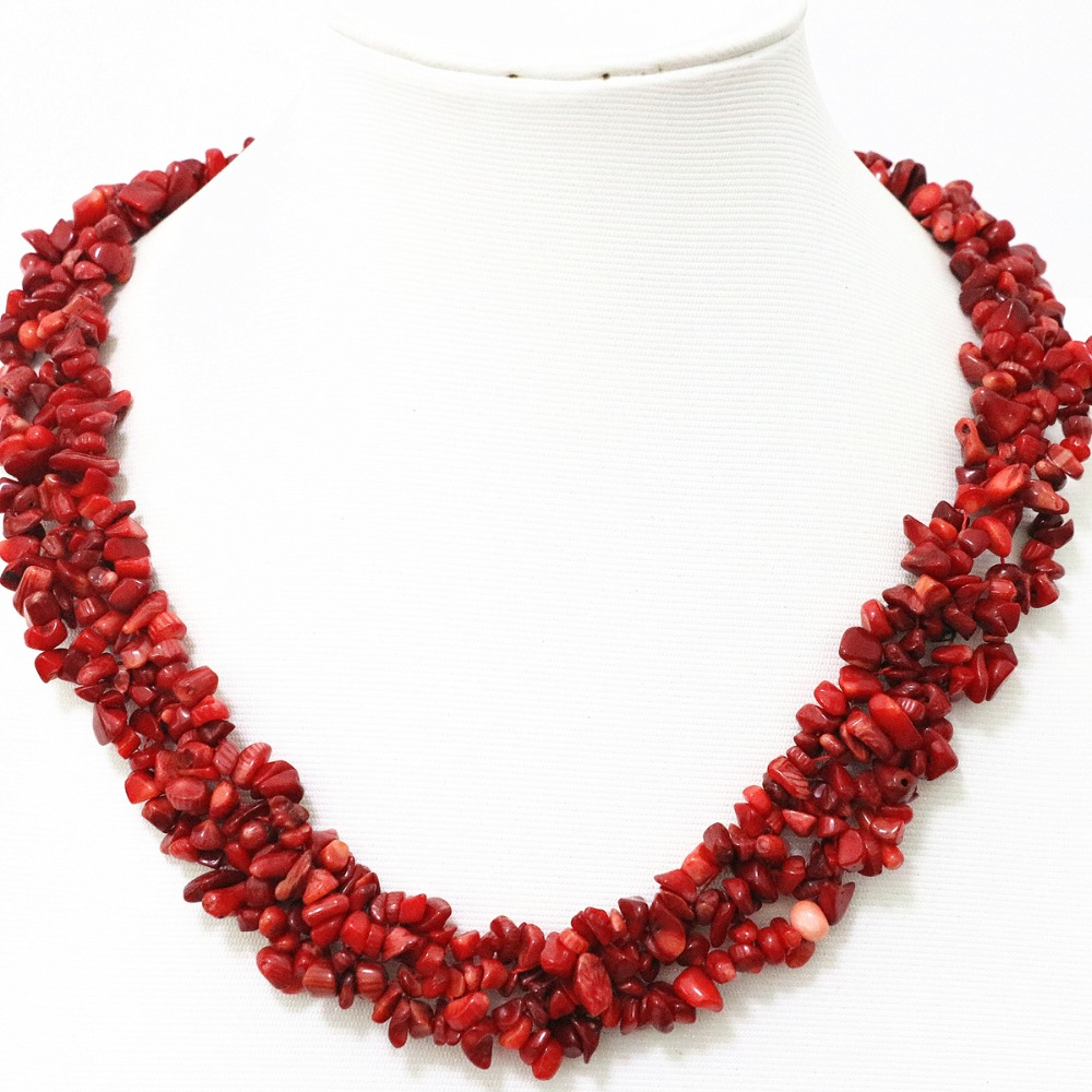 Charms red natural coral stone 9x11mm irregular gravel chips beads chains necklace for women elegant jewelry making 18inch B522(China (Mainland))