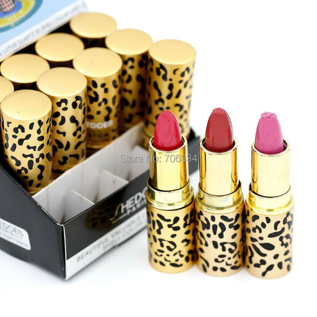 Lipstick  Cosmetics Round Lipstick With Display Stand 12 Colors 1/color Fashion Leopard lip stick 8055#