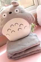 Plush 1pc cartoon naughty Hayao miyazaki totoro hand warmer office cushion + blanket stuffed toy creative romantic gift for baby