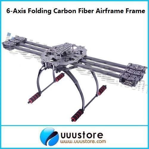 Six-Axis 6-Axis Folding Carbon Fiber Airframe Hexa Frame Kit with Landing Gear For FPV DJI WK/ MWC/ KK Flight Controller<br><br>Aliexpress