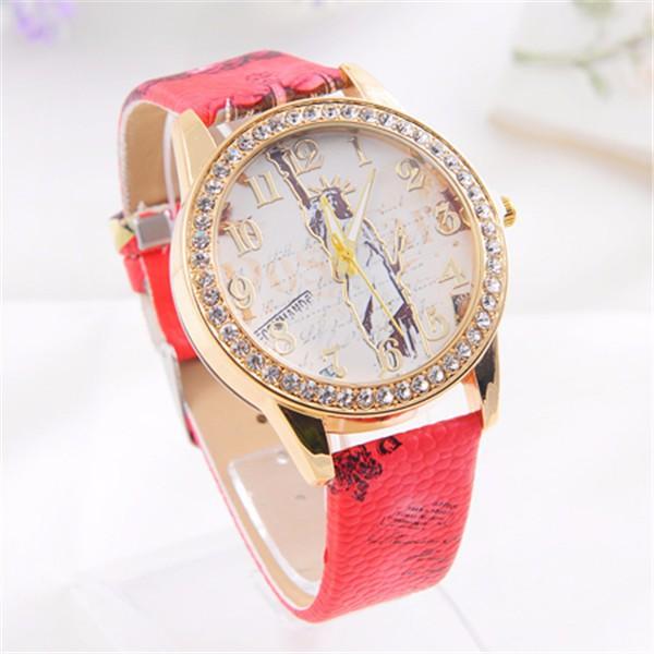 New Wristwatch 2015 Fashion Statue of Liberty Pattern Rhinestone Watch Women Ladies Watch relojes relogio Hot Sale(China (Mainland))