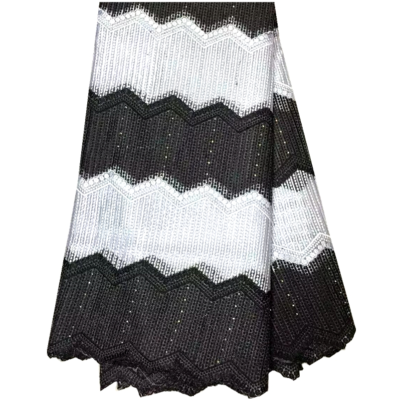 2016 Latest Teal African French Lace Fabric High Quality African Tulle Lace Fabric In Black And White For Wedding/Party Dress(China (Mainland))