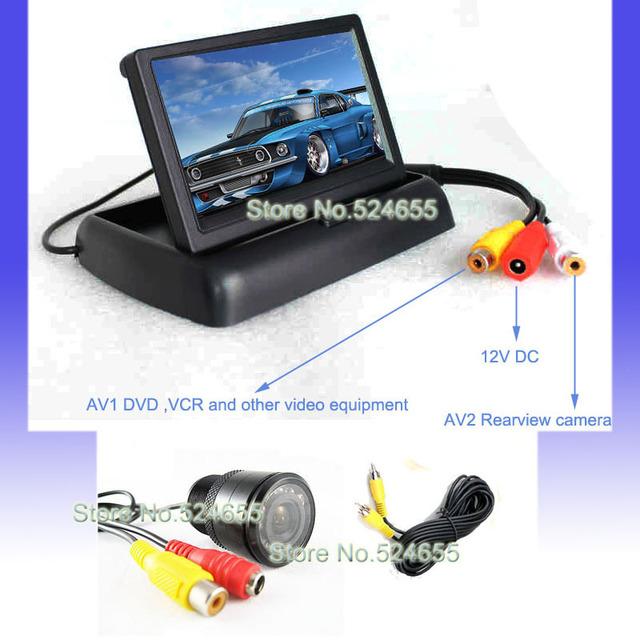 Car rear view camera night vision 120 degree waterproof and car LCD TFT monitor backup camera system free shipping