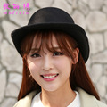 Fashion Autumn Winter Cashmere Woolen Imitation Hat Lady All match Solid Color Jazz Fedoral Billycock Bowler