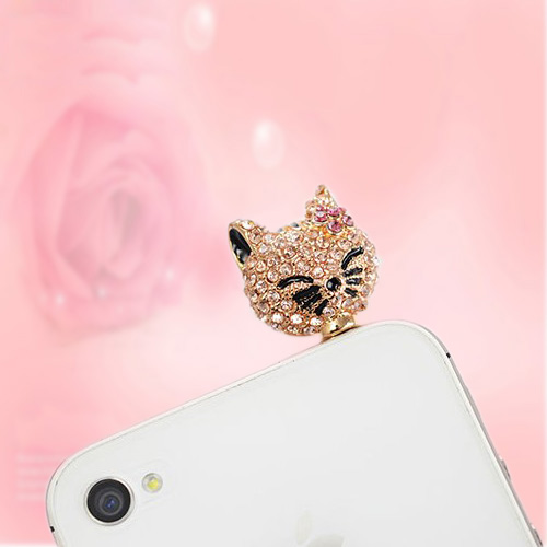 3.5mm New Charm Full The cat head Dust Plugs For Iphone SAMSUNG Cell Phone Dust Cover(China (Mainland))