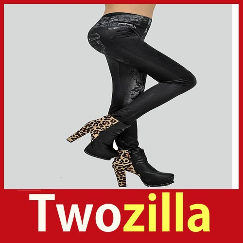 store specials [Twozilla] Fashion Tights Pants Black Skull Tattoo Stretch LC7754-2 Hot cheap ! big discount(China (Mainland))
