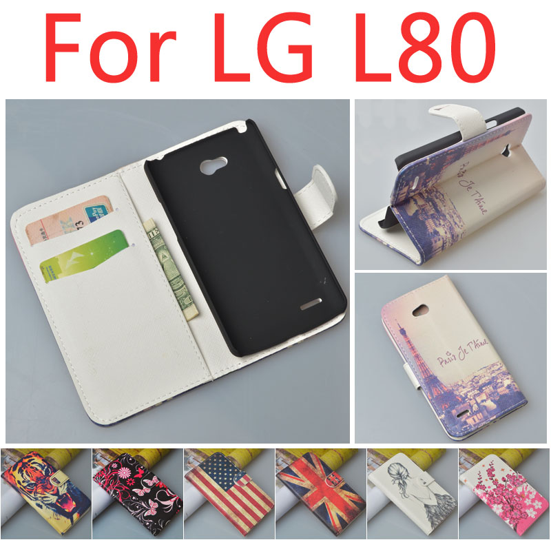 Гаджет  Luxury Pattern Wallet Leather Case For LG L80 Dual Phone Cover L80 Dual SIM ,with stand function and card slots, free shipping None Телефоны и Телекоммуникации