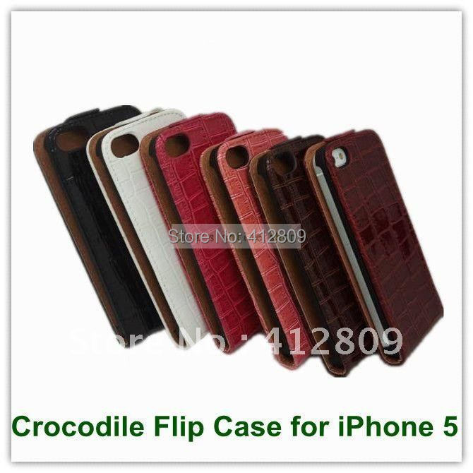 EMS/DHL Free Up and Down Premium Quality Crocodile Leather Flip Stand Case for iPhone 5 Wholesales 100PCS(China (Mainland))