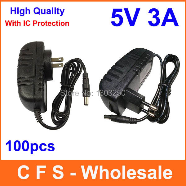 100pcs AC DC 5V 3A Power Supply adapter Charger with IC version Adaptor 5.5mm x 2.1mm Free shipping High Quality wholesale(China (Mainland))