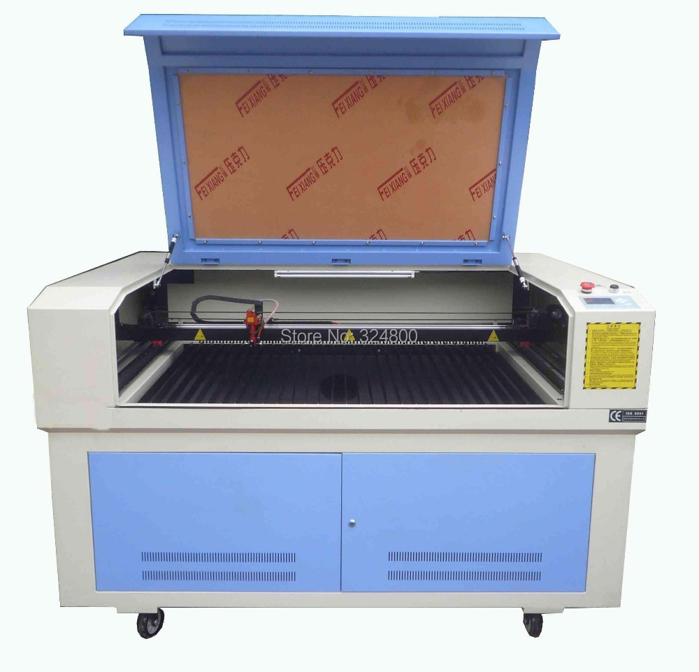 130 90 size laser machine with cw5000 chiller 100w reci for Table up down extensible