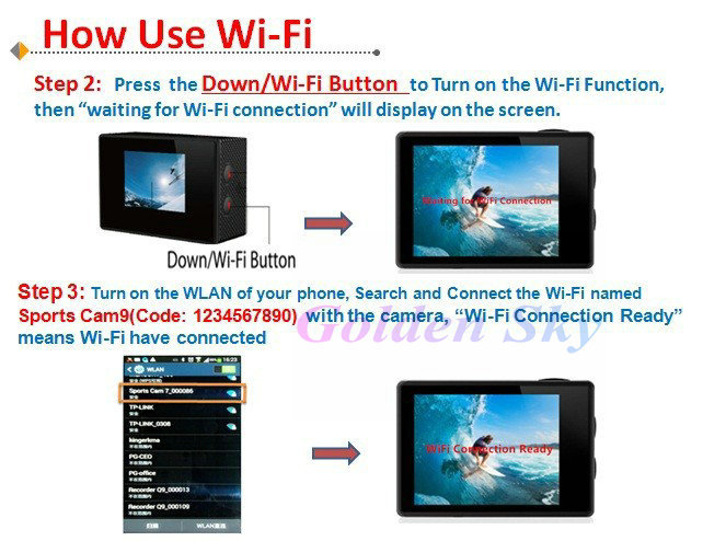 New Arrival Full HD DVR Sport DV W9 Wifi 1080P Waterproof 30M Camera 2.0inch