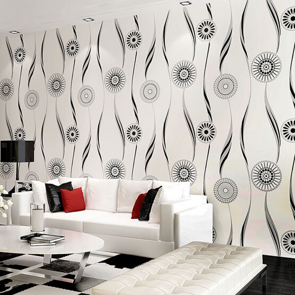 Modern Fashion Abstract Circle Wallpaper Black and white Wallpapers Thick Papier Peint Non-woven Wallpaper for Walls QZ004(China (Mainland))
