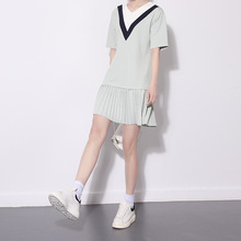V-neck Dress with Paragraph College Style  Hit The Color Stitching Pleat Dress Korean Clothes Mini Dress Summer