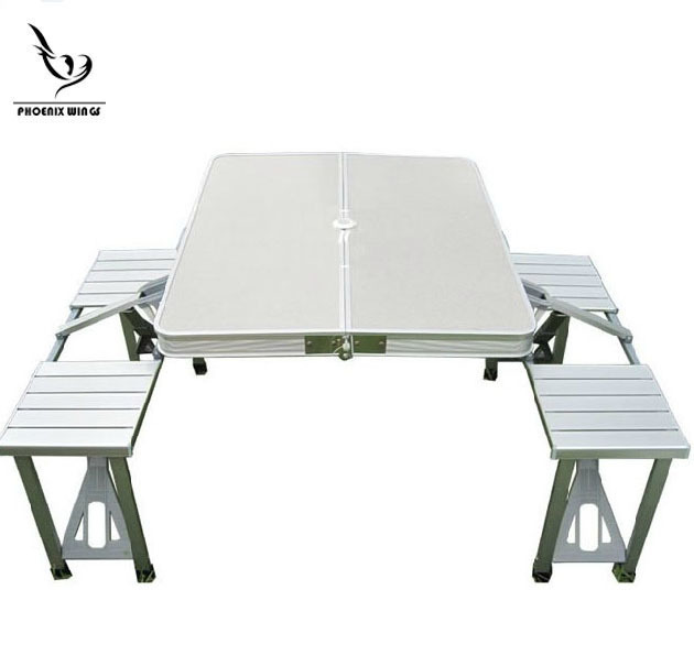 Гаджет  new arrival 2015 outdoor table, alumnium alloy table, foldable table 85*67cm with 4 chairs integrated None Мебель