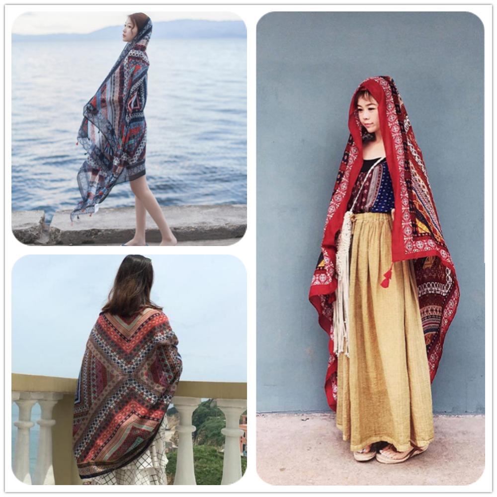2016 NEW High Quality diamond grid printed Scarve Scarf big size 190*110cm women tassel beach shawl Soft Cotton&Linen Blend Wrap(China (Mainland))