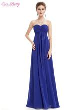 Bridesmaid Dresses 2016 Wedding Party Dress Ever Pretty EP08084 Strapless Elegant Light Blue Ruffled Long Bridesmaid Dresses(China (Mainland))