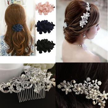 Hot Women Wedding Hair Clip Flower Gem Crystal Pearl Comb Barrette Butterfly Accessorise Party Festival