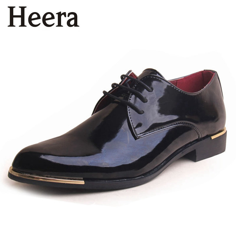 Top Fashion 2015 Men's Oxfords Fashion Patent Leather Shoes Man Business Pointed Toe Shoes Men's Dress Shoes Black(China (Mainland))