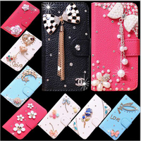DIY Handmade PU Leather Wallet Cover For HTC One X10 Flip Case With Stand Bling Mobile Phone Bag Cases