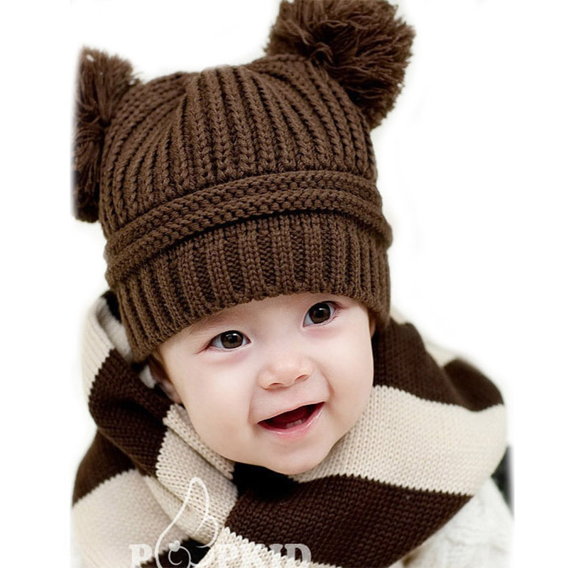 1pc Winter Warm Baby Hat Girls Boys Caps Children Dual Ball Knit Sweater Baby Cap Knitted -- MKE019 PT49(China (Mainland))