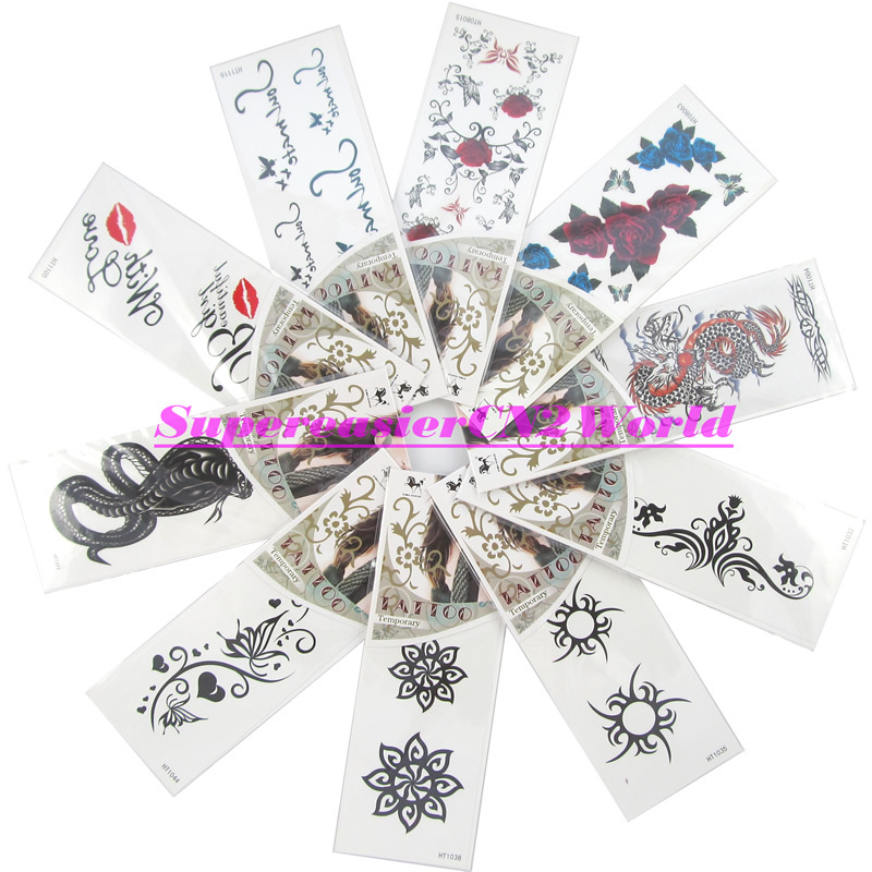 10 x Temporary Tattoos 4.7x2.4 inch Stickers Lady Beauty Makeup Rose Totem Dragon Snake Lips Pattern Removable Waterproof #HT-H2(China (Mainland))