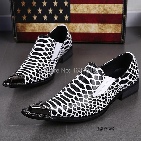 High Quality Metal Toe Men Dress Shoes Black& White Stripe Print Oxford Shoes Slip On Sapatos Social Masculino Fashion Men Shoes