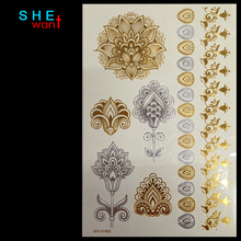 Wholesale Body Paint Glitter gold tattoo stickers tattooing Metalic temporary flash tattoos Arabic Henna Tatto Tatoo