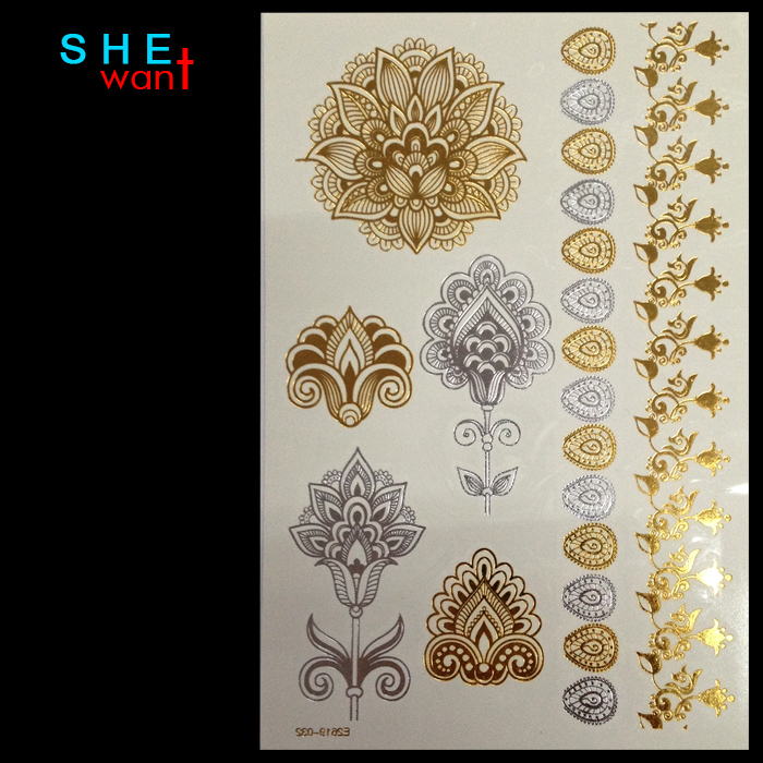 Wholesale Body Paint Glitter gold tattoo stickers tattoo Metalic temporary flash tattoos Arabic Henna Tatto Tatoo taty(China (Mainland))