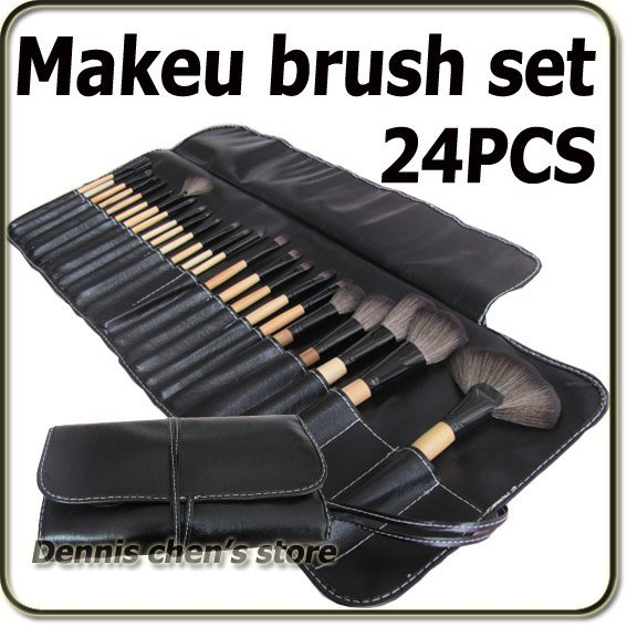 24 Pieces Professional Black Makeup Brush Set Cosmetic Make up Brushes Kit With Pouch Bag Free Shiping Wholesale