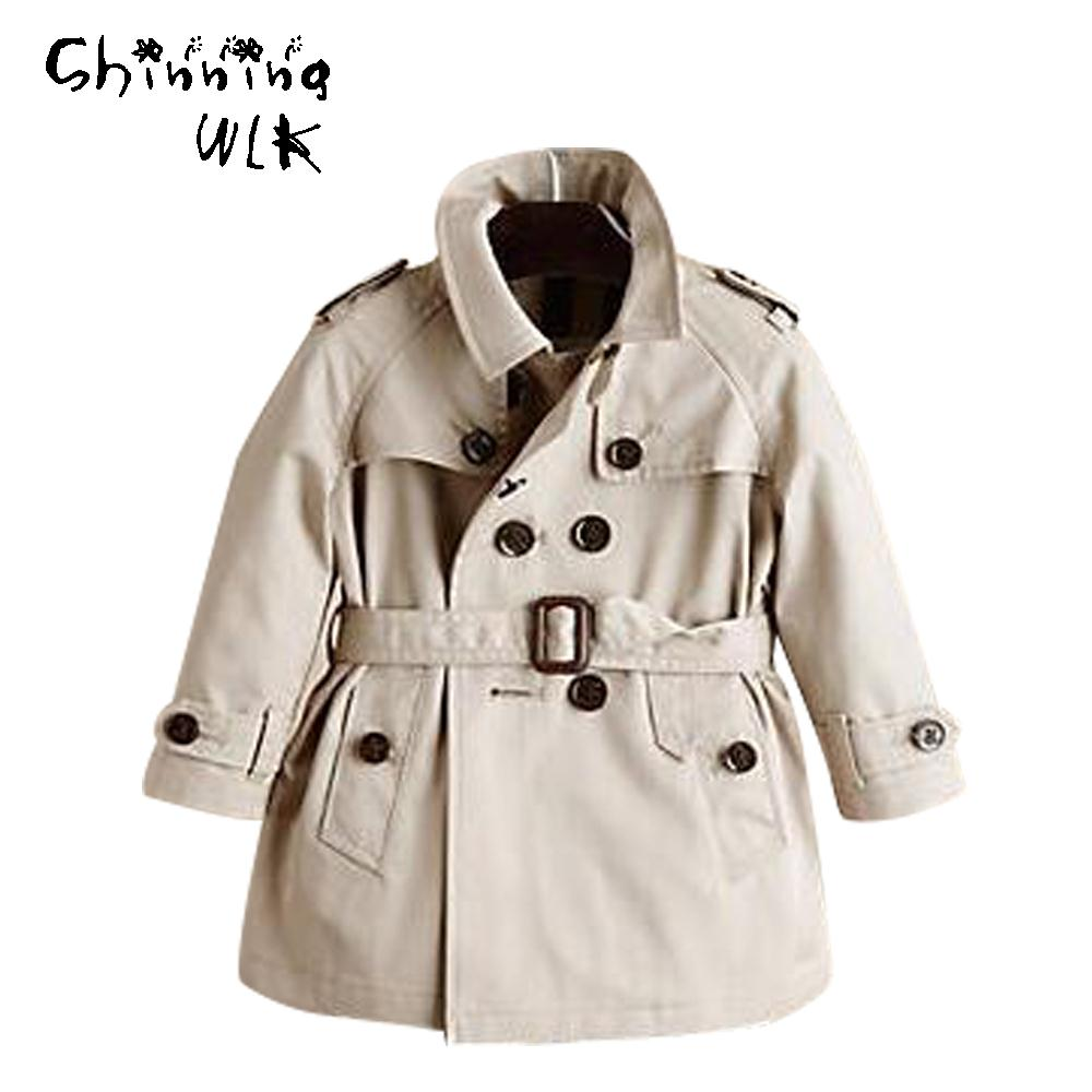 New Double-Breasted Children Trench Autumn Long Sleeve Fashion Kids Tops Outerwear Baby Apparel 2016 Boys Trench Coat(China (Mainland))