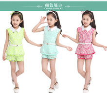 Summer children's clothing children lace suit,2016 two-piece girl,pants sets, refined elegance lace fabric, comfortable and soft