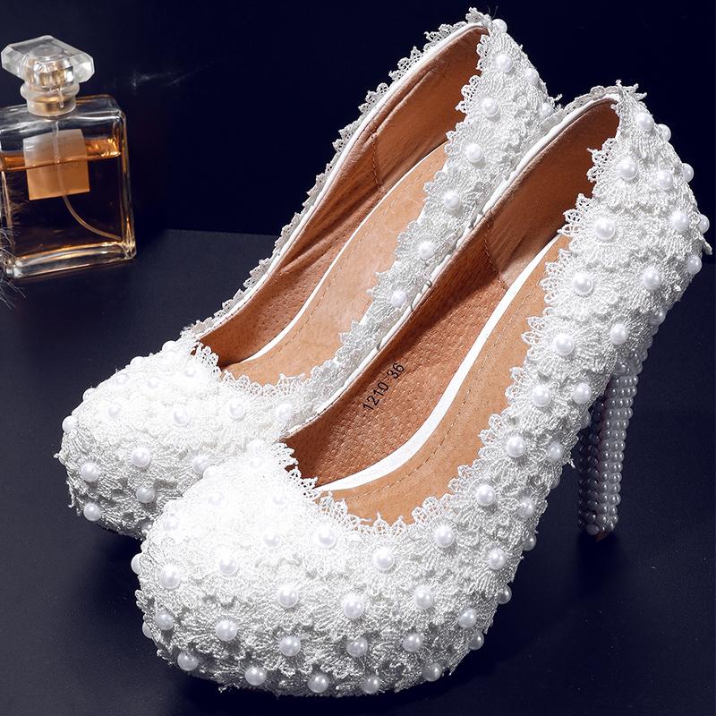 White Elegant Leather Womens Party Wedding Shoes High Heels 2016 Spring Summer Female Slip On Beading Flower Pumps Platform Shoe<br><br>Aliexpress