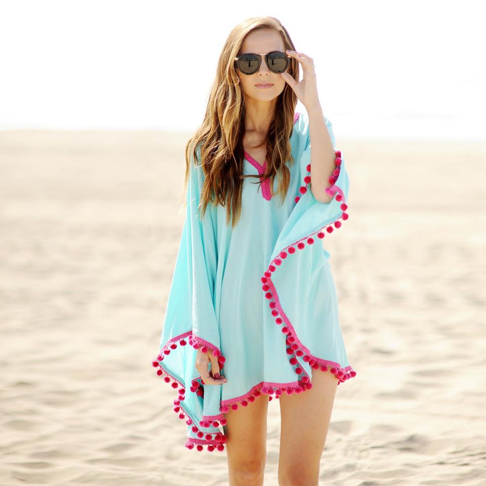 2016 Sexy Cotton Bathing Suit Cover ups Summer Beach Dress Tassel Trim Bikini Swimsuit Cover up Beach wear Pareo Sarong(China (Mainland))