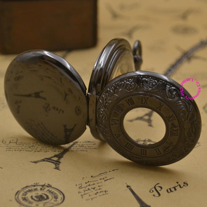 Mechanical Pocket Watch men open 2 side steampunk man fob watches black plating roman antique vintage retro Stylish hand Wind <br><br>Aliexpress