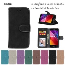 AiSMei 5.0 inch Funda Luxury Wallet Leather Cases Coque Asus Zenfone 2 Laser ZE500KL ZE500KG Case Cover Stand Holder Bags - Official Store store