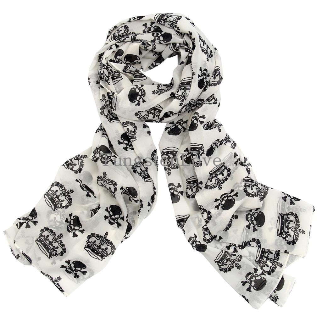 2015 Ladies Scarves Chiffon Skull Print Scarf Shawl Halloween Party Christmas Gifts Black / White Color Selectable(China (Mainland))